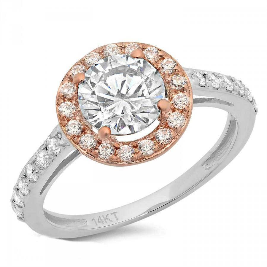 Engagement Ring 2.35 Ct Round Cut Halo 14K White/rose Gold Bridal Pertaining To Best And Newest Halo Anniversary Rings (Gallery 8 of 25)