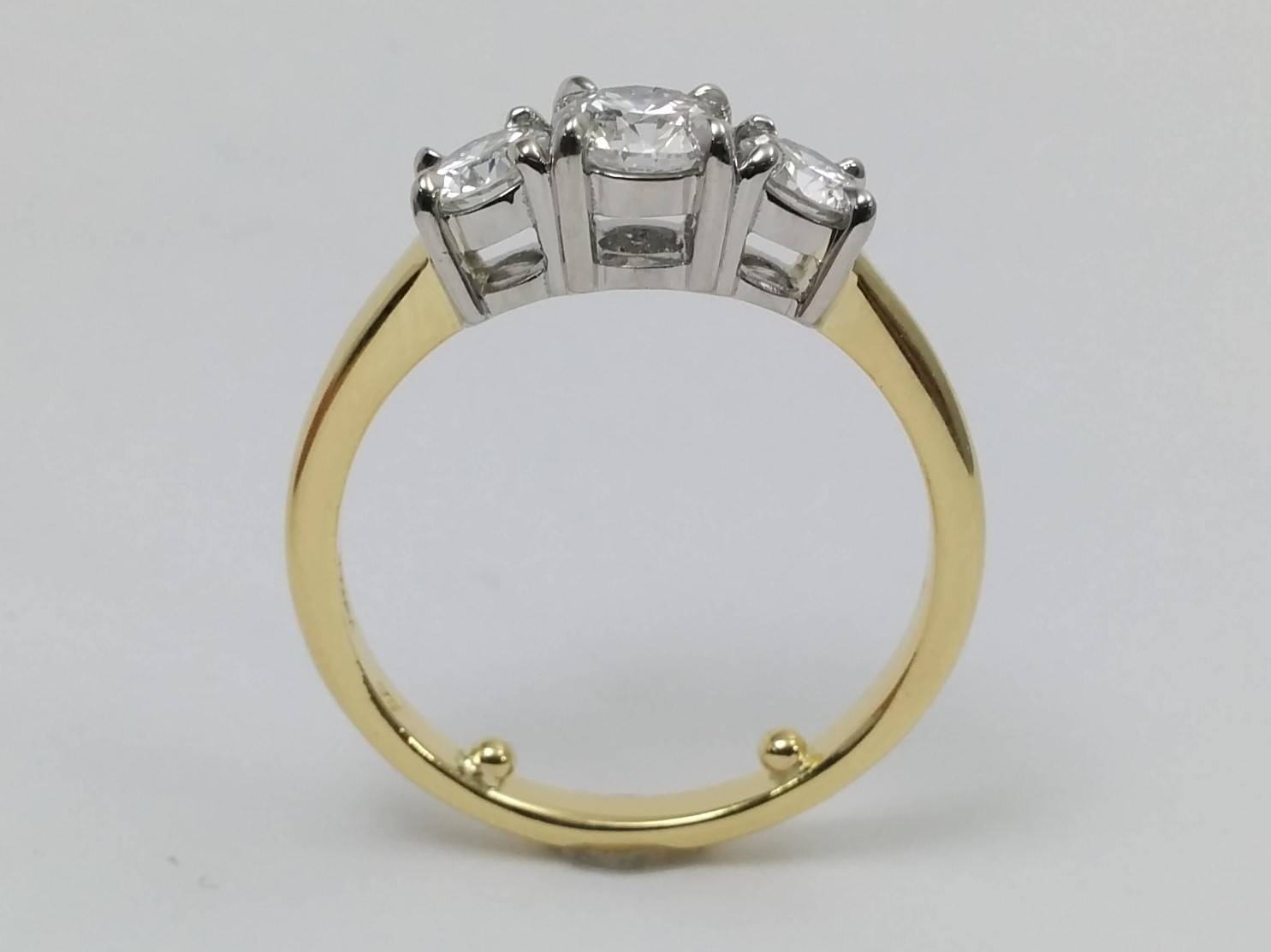 Engagement Ring  Three Stone Diamond Two Tone Anniversary Ring Es1448 With Regard To Most Current Two Tone Anniversary Rings (View 11 of 25)