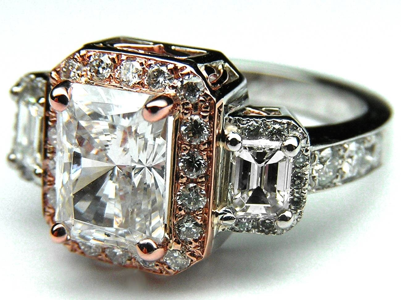 Engagement Ring  Three Stone Radiant Cut Diamond Vintage Style Two In Most Popular Vintage Anniversary Rings (View 11 of 25)