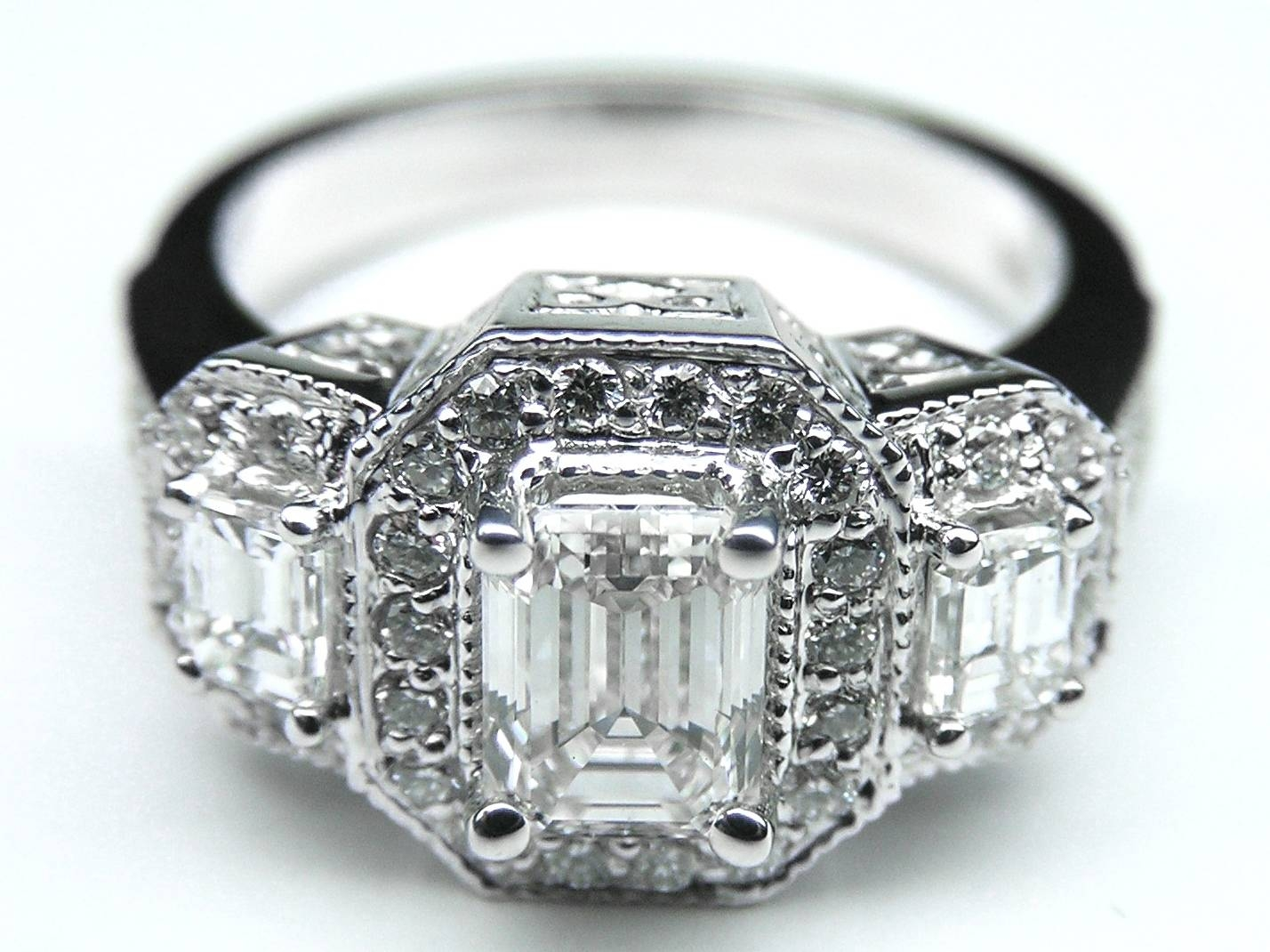 Engagement Ring Vintage Style Three Stone Emerald Cut Diamond Inside Latest Vintage Style Anniversary Rings (View 9 of 25)