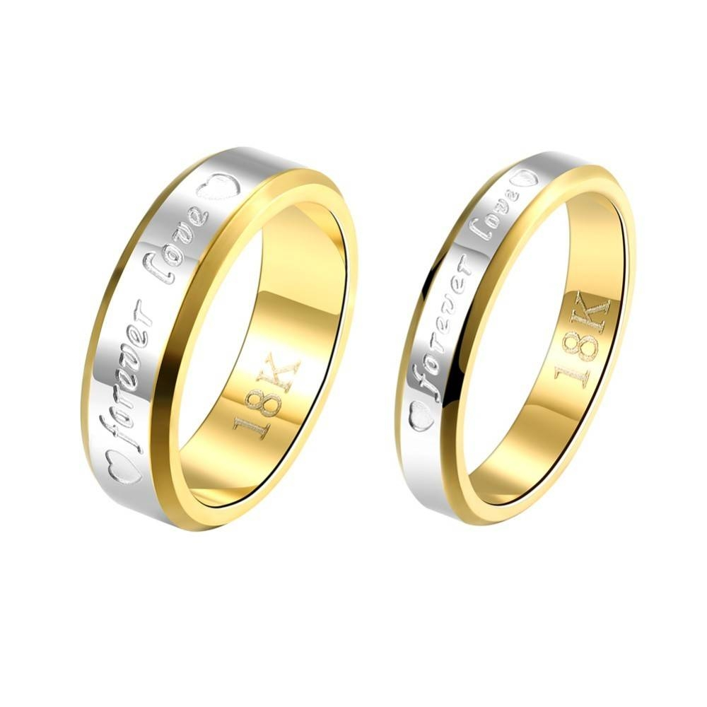 Engraving Name Anniversary Rings For Women & Men Gold Color With Most Recent Mens Anniversary Rings (View 14 of 25)