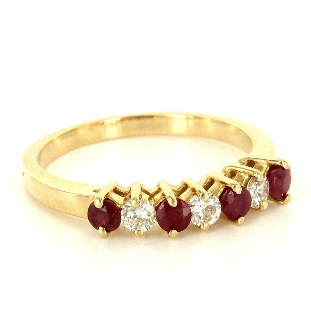 Estate 14 Karat Yellow Gold Ruby Diamond Anniversary Band Stack Intended For Recent Yellow Gold Diamond Anniversary Rings (View 12 of 25)