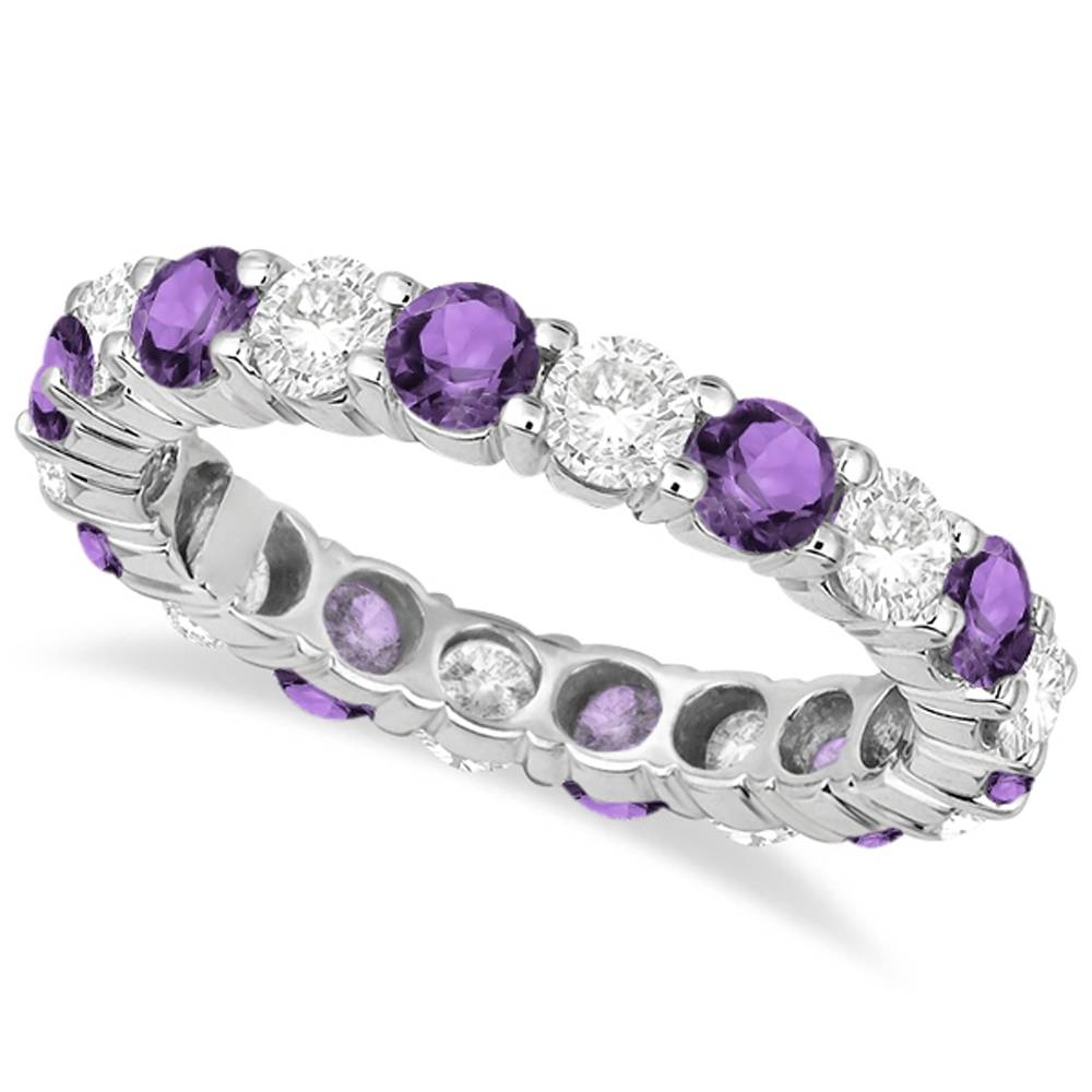 Eternity Diamond & Amethyst Anniversary Ring Band 14K White Gold Inside Latest Diamond And Sapphire Anniversary Rings (Gallery 19 of 25)
