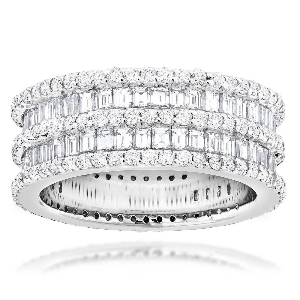 Eternity Rings 4.5 Carat Round Baguette Diamonds Band 14K Gold For Latest Baguette Anniversary Rings (Gallery 8 of 25)