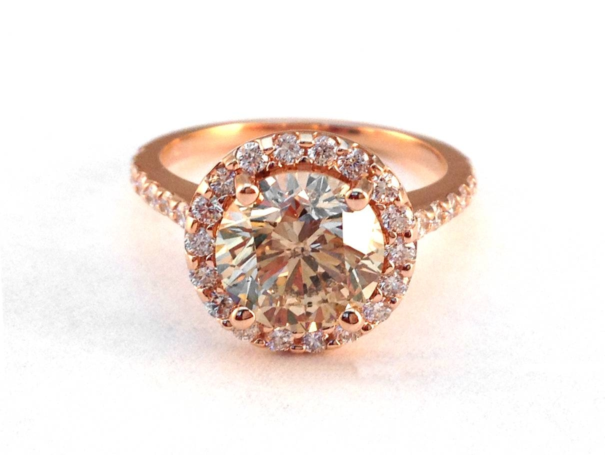 European Engagement Ring – Rose Gold Champagne Round Diamond Halo Inside 2018 Chocolate Diamond Anniversary Rings (View 10 of 25)