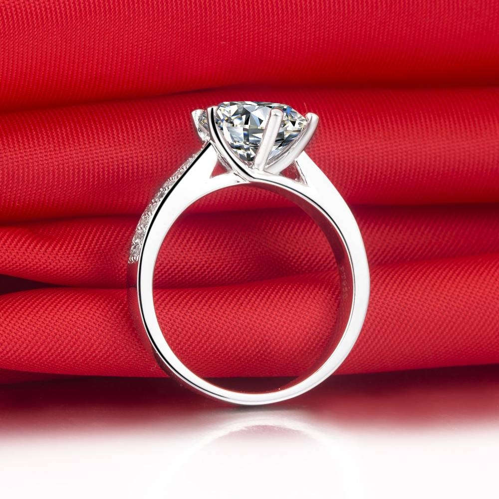 Exaggerated Memorable Design 3 Carat Solid 18K White Gold Simulate With Regard To Most Popular 3 Carat Diamond Anniversary Rings (View 7 of 25)