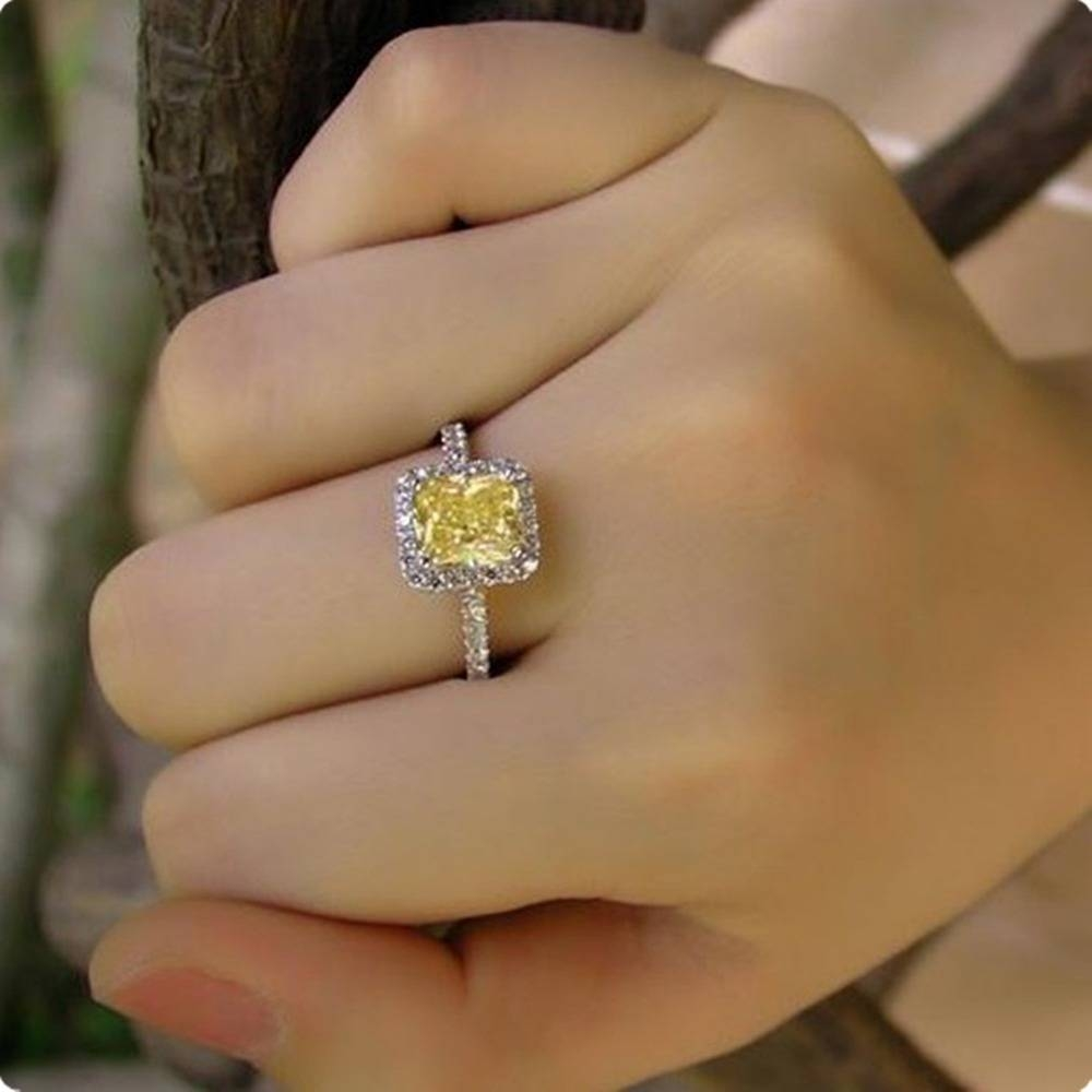 Excellent Color Enhanced 2 Carat Cushion Cut Vintage Yellow Nscd Regarding Current Yellow Diamond Anniversary Rings (View 7 of 25)