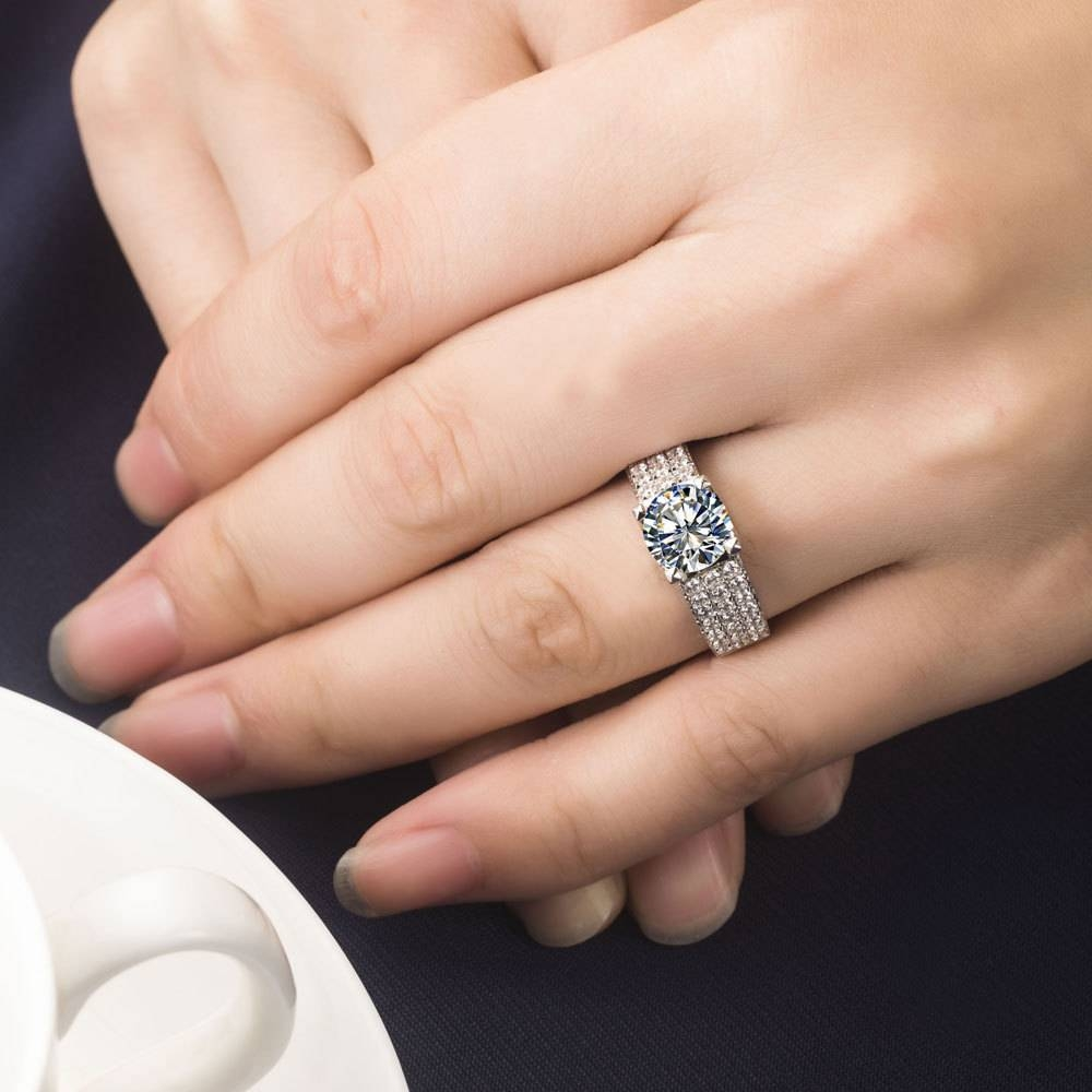 Excellent Top Brand Design 2 Carat Natural Moissanite Engagement Pertaining To Most Recently Released Engagement Wedding And Anniversary Rings Sets (View 11 of 25)
