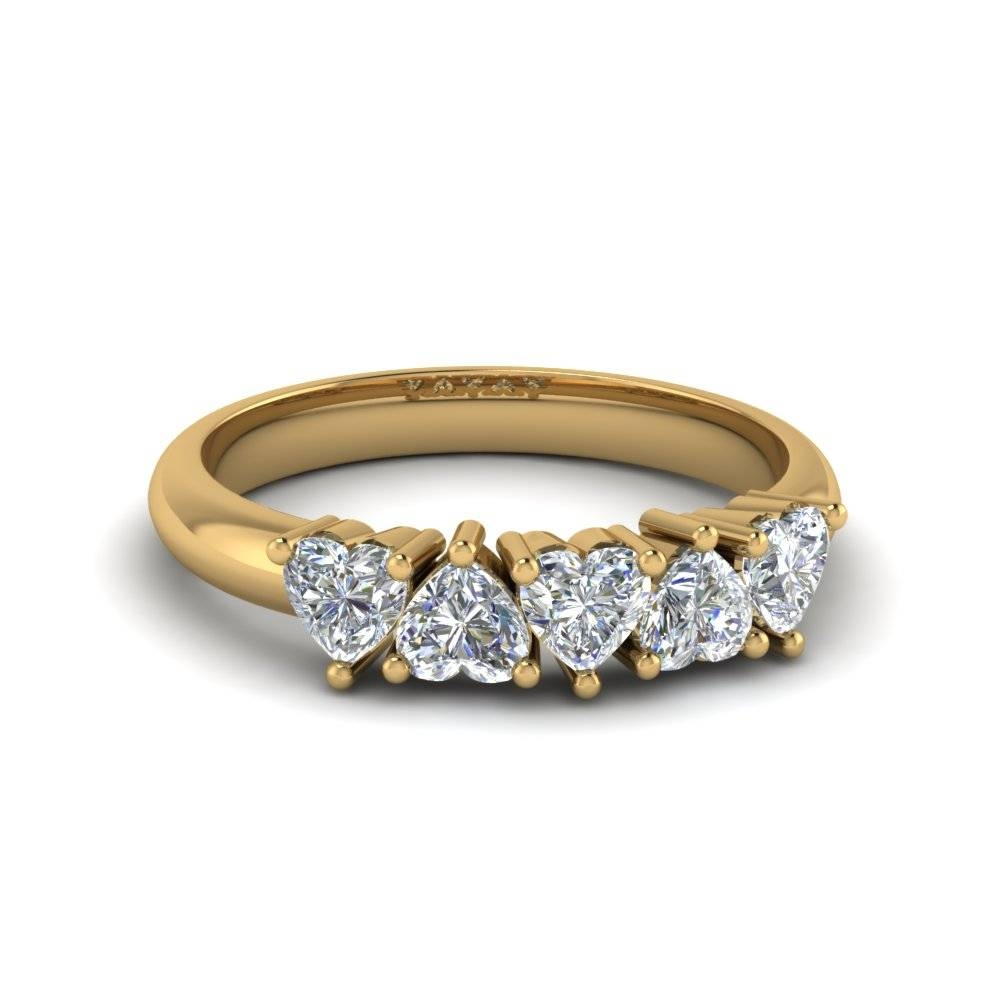 Exclusive 5 Stone Heart Shaped Anniversary Band In 14K Yellow Gold With Regard To Most Current Yellow Gold Anniversary Rings For Womens (View 10 of 25)