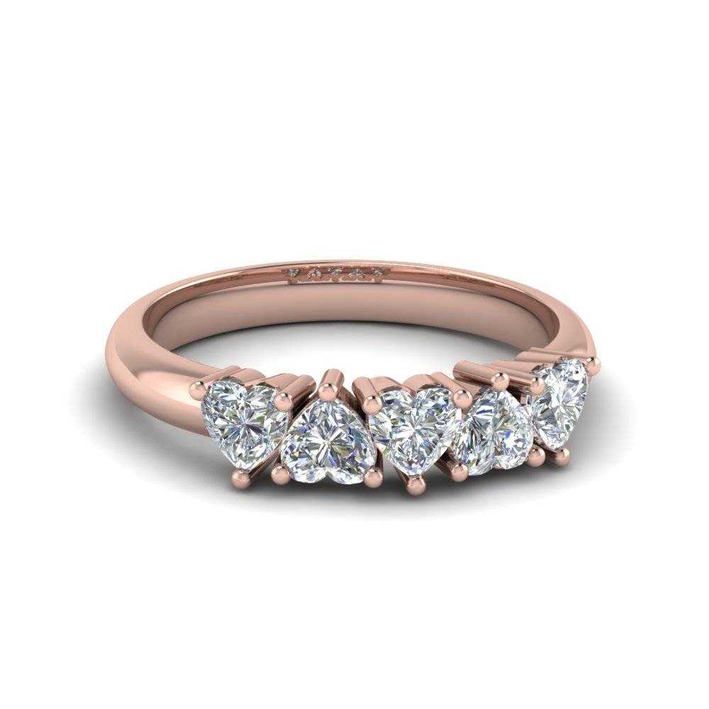 Exclusive 5 Stone Heart Shaped Anniversary Band In 18K Rose Gold With Most Up To Date Five Stone Anniversary Rings (View 16 of 25)