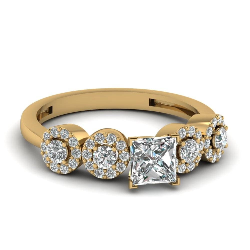 Fancy Halo Diamond Simple Anniversary Ring Gifts In 14K Yellow For Most Current Yellow Gold Anniversary Rings (View 11 of 25)