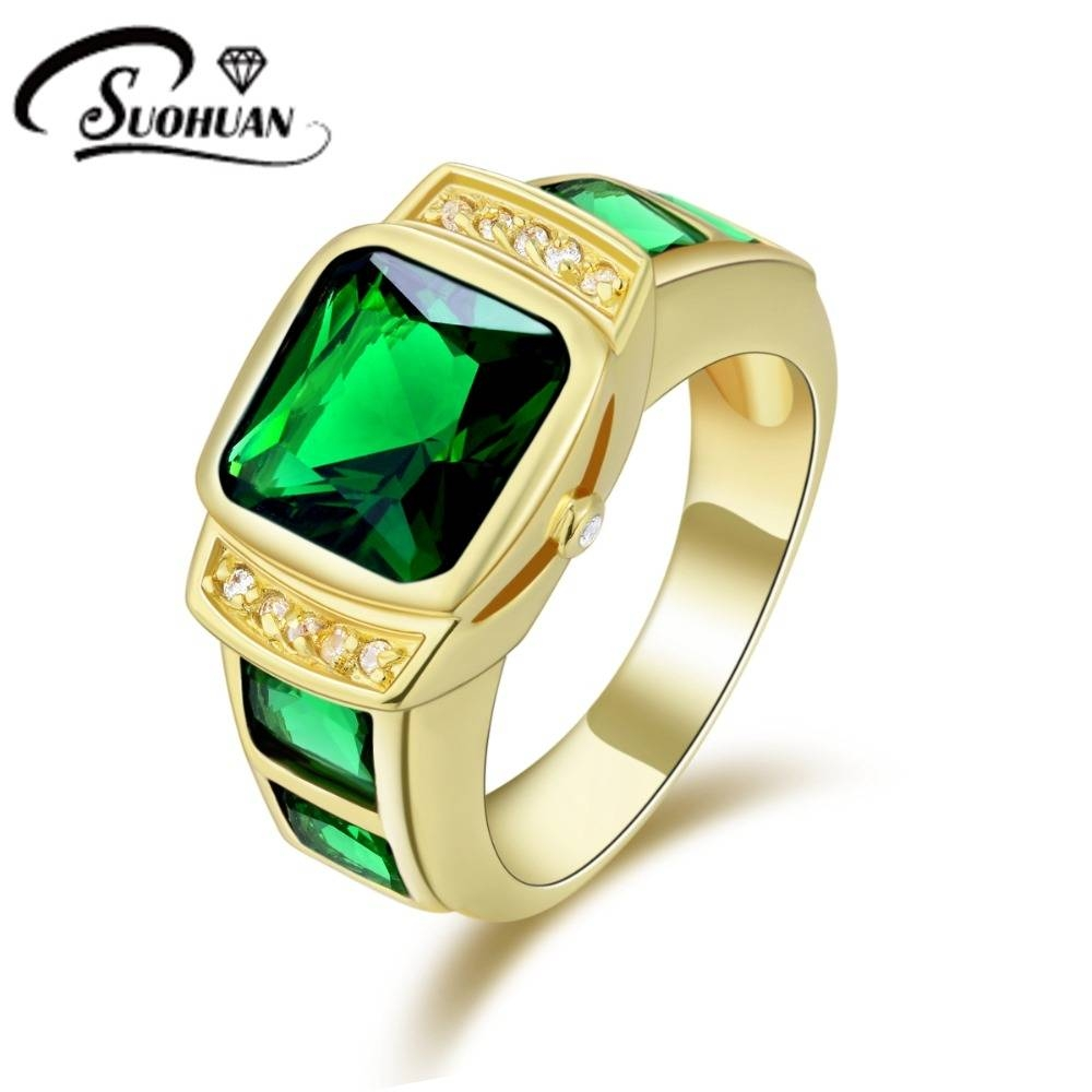Fashion Man Jewelry Green Stone Rings Cz Ip Yellow Gold Filled With 2017 Anniversary Rings For Men (View 12 of 25)