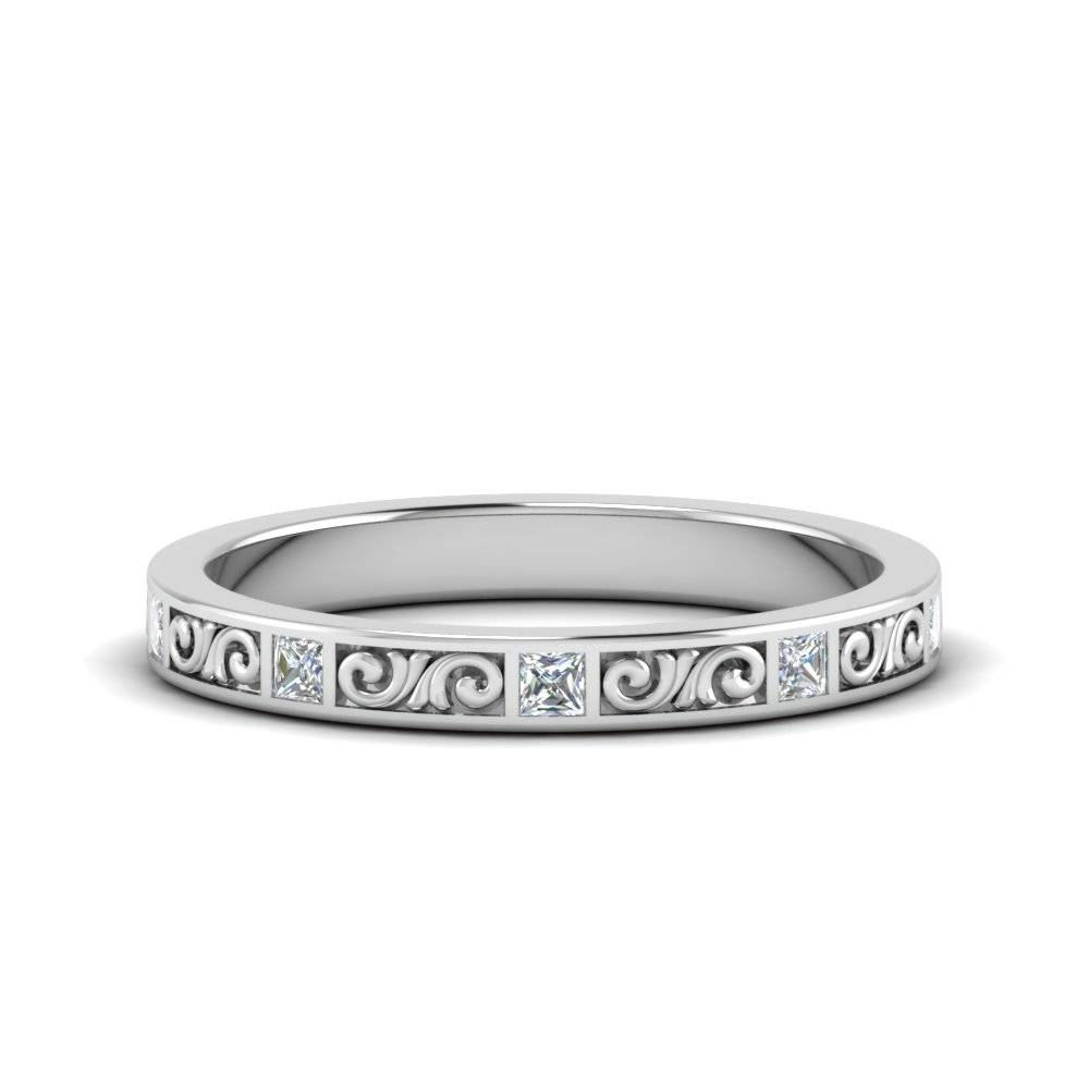 Filigree Princess Cut Diamond Wedding Band In 14K White Gold For Most Current Princess Cut Anniversary Rings (View 8 of 25)