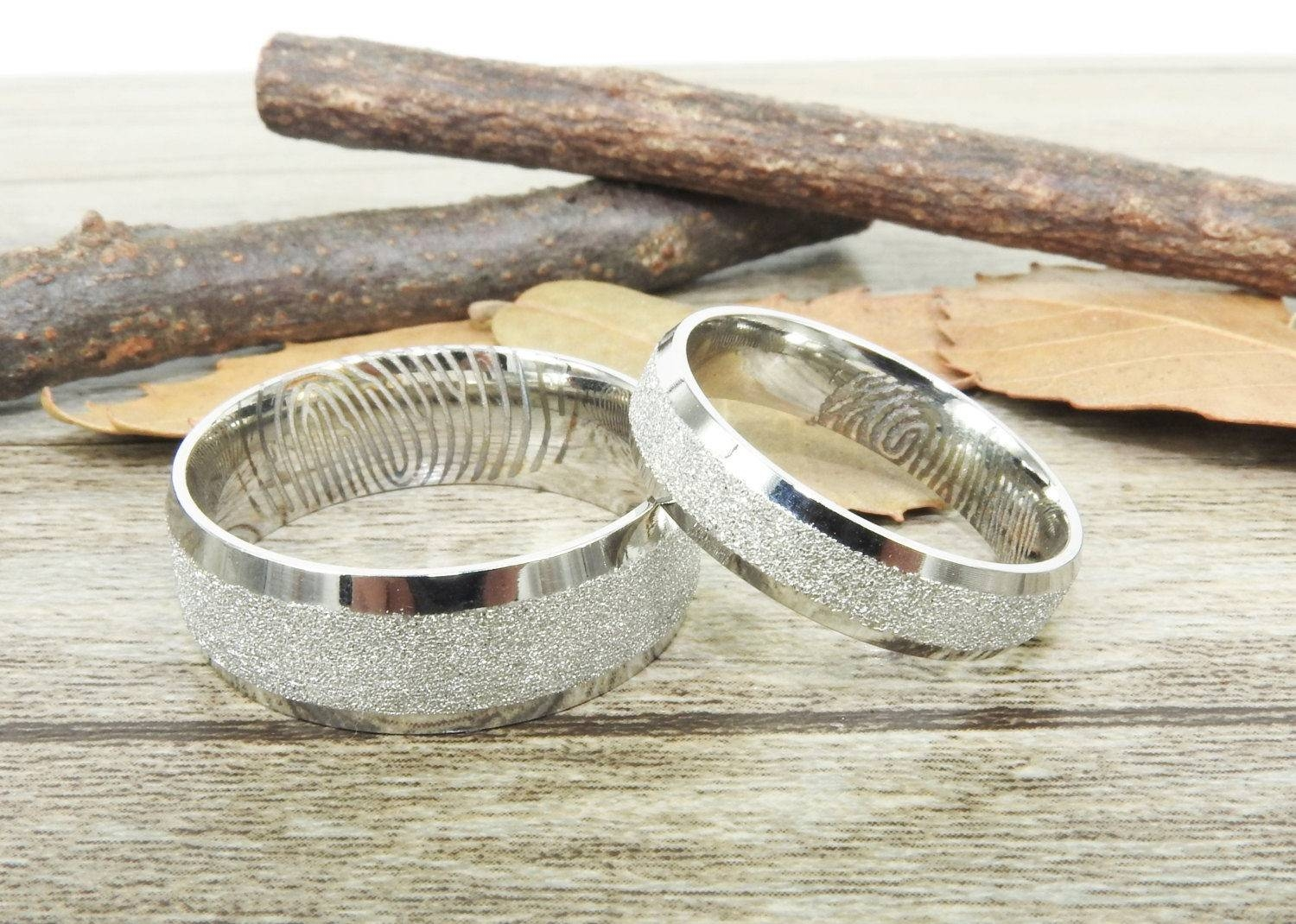 Fingerprint Rings, Couple Rings, Classic Handmade Wedding Bands For Recent Titanium Anniversary Rings (Gallery 12 of 25)