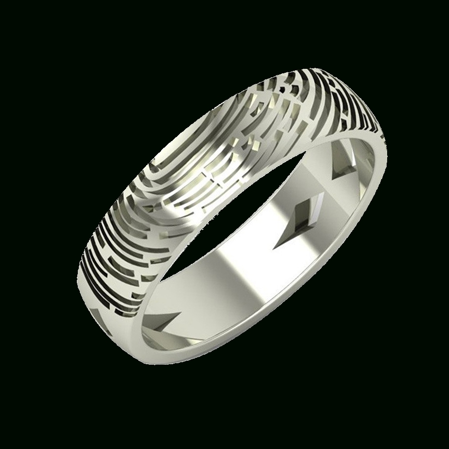 Fingerprint White Gold Ring For Couples In India Aurobliss Intended For Most Current 25Th Anniversary Rings For Her (View 11 of 25)
