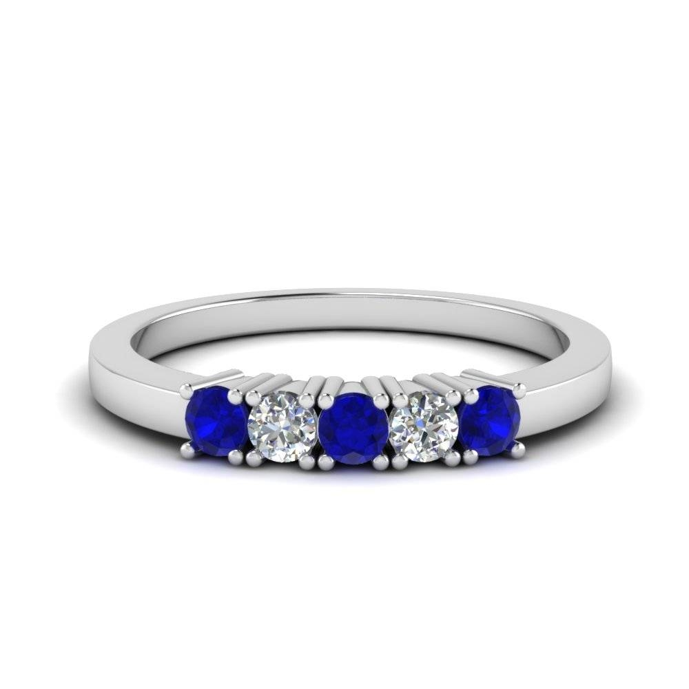Five Stone Anniversary Band With Sapphire In Sterling Silver Intended For Best And Newest Sapphire Anniversary Rings (View 9 of 25)
