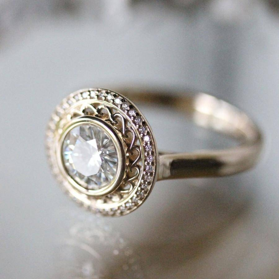 Forever Brilliant Moissanite 14K Yellow Gold Ring, Engagement Ring In 2017 Stacking Anniversary Rings (View 8 of 25)