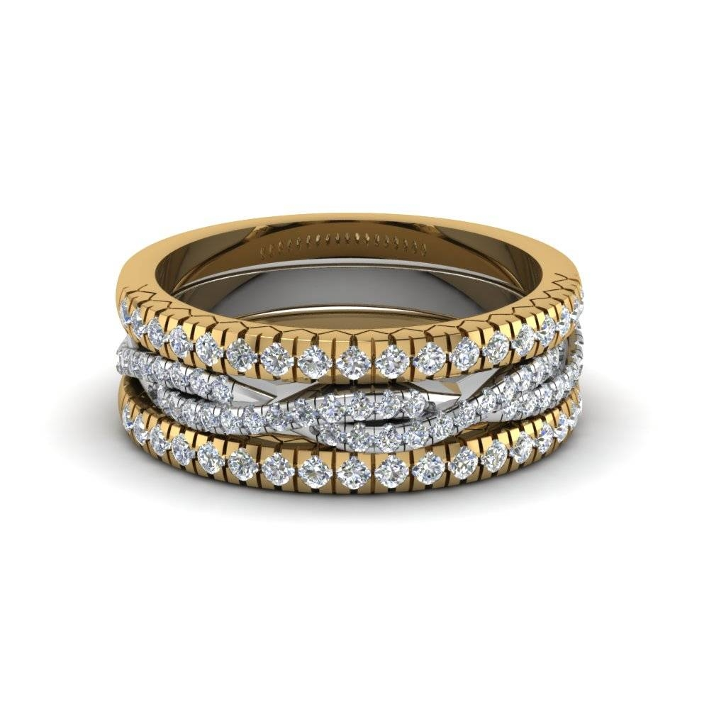 French Pave Rope Stackable Band In 14k Yellow Gold | Fascinating For Most Current Stacking Anniversary Rings (View 10 of 25)