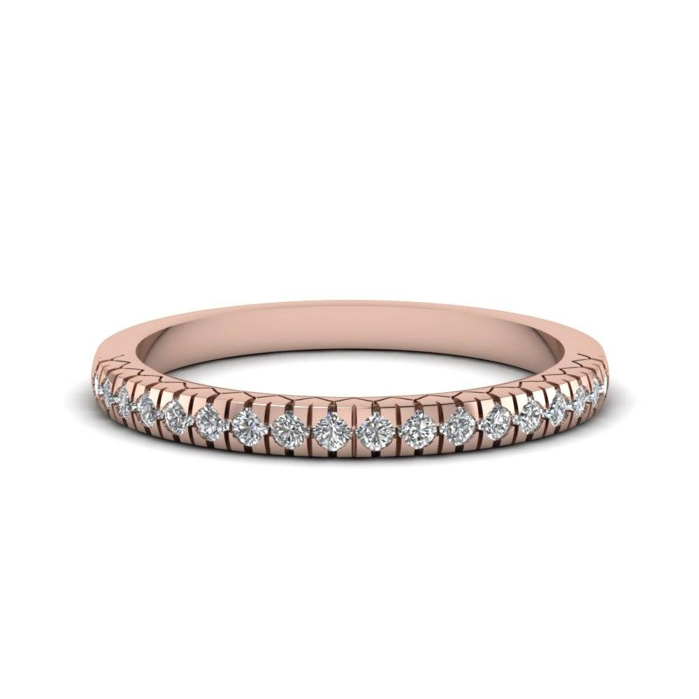 French Prong Delicate Anniversary Diamond Band In 14K Rose Gold Throughout 2018 Engraved Anniversary Rings (View 9 of 25)