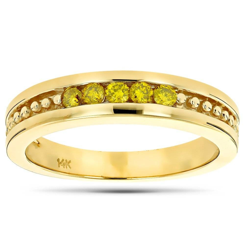 Gold Mens Womens Yellow Diamond Wedding Band 5 Stone Anniversary Ring Within Most Recently Released Yellow Diamond Anniversary Rings (Gallery 9 of 25)
