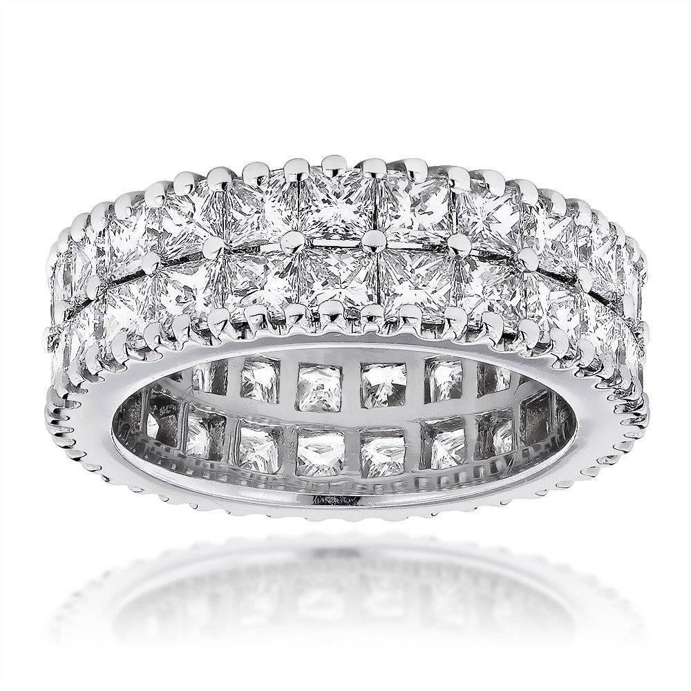 Gold Princess Cut Diamond Eternity Band Anniversary Ring (View 5 of 25)