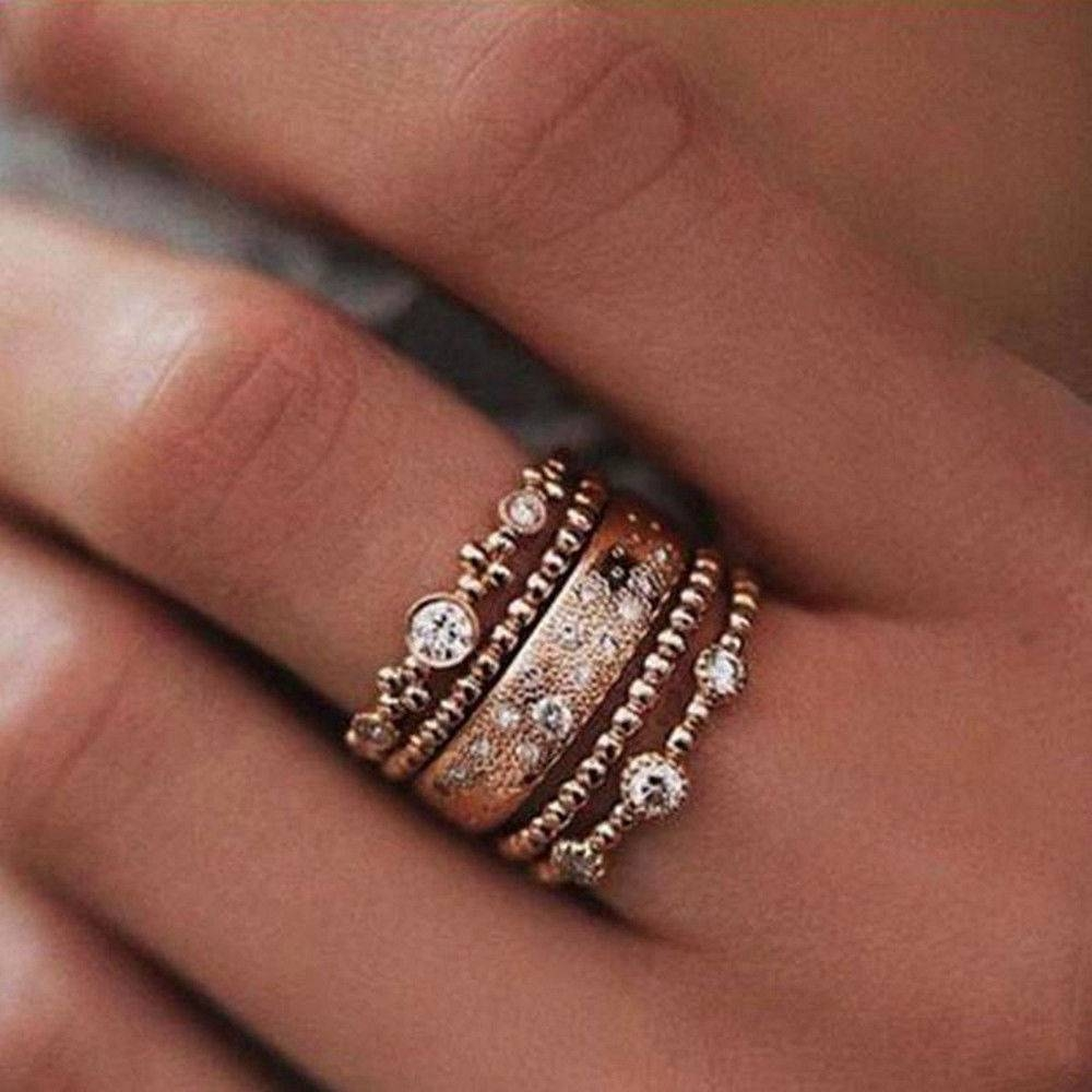 Gold Stackable Rings | Ebay In Most Current Stackable Anniversary Rings (Gallery 16 of 25)