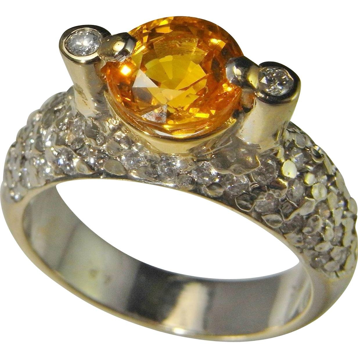 Golden Sapphire Diamond Engagement Ring Wedding Ring Anniversary Pertaining To 2017 Vintage Anniversary Rings (View 13 of 25)