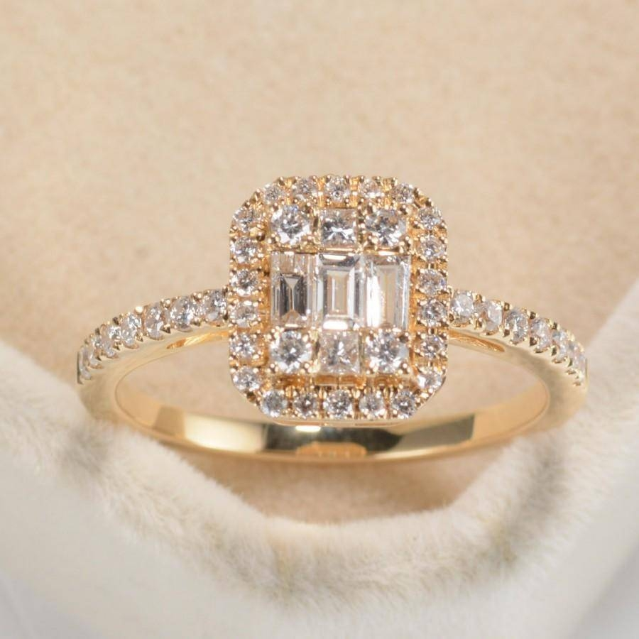 Halo Engagement Ring, Natural Baguette Diamond Ring, Halo Set Ring Throughout 2017 Anniversary Rings With Baguettes (View 6 of 25)