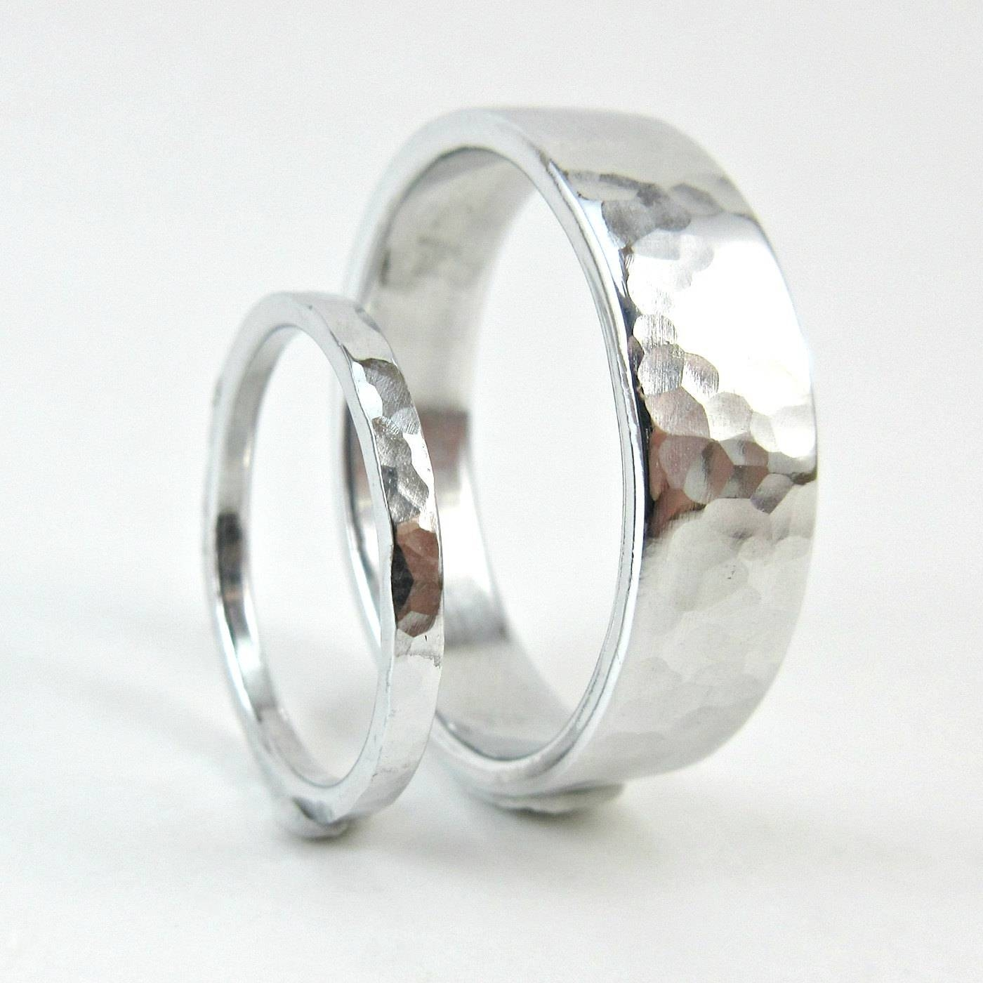 Hammered Aluminum Ring Set 10 Year Anniversary Bands His And Within Most Recent Couples Anniversary Rings (View 7 of 25)