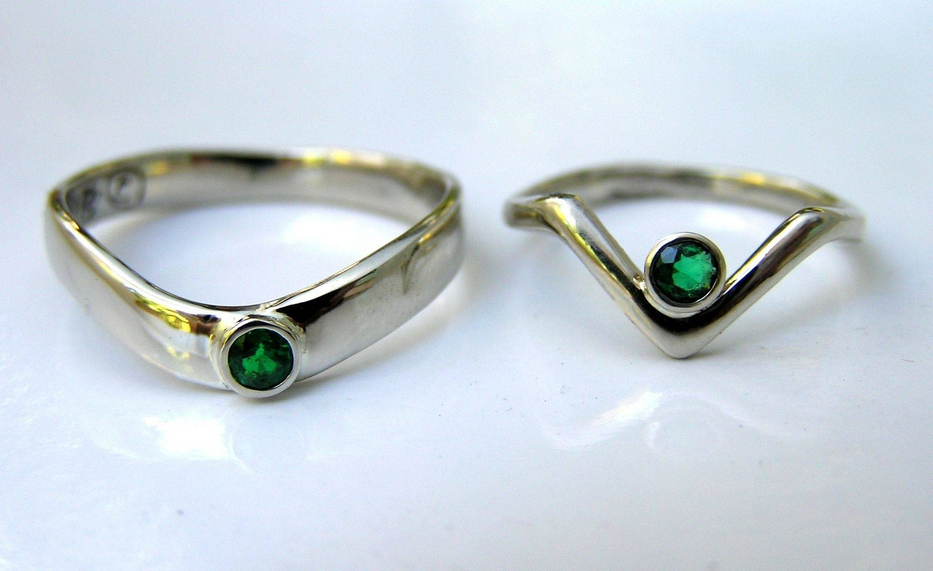 Hand Crafted His Hers Emerald Anniversary Rings – Handmade Custom Regarding Most Recent Emerald Anniversary Rings (View 13 of 25)