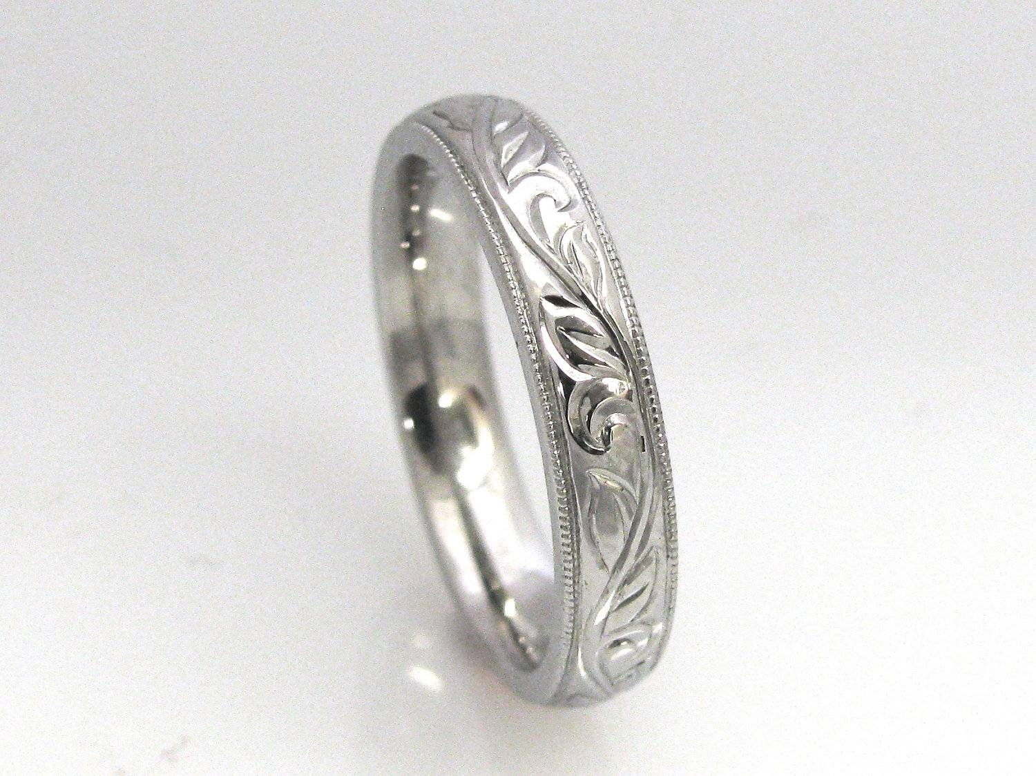 Hand Engraved Vine And Leaf With Milgrain Edge Wedding With Regard To 2018 Engraved Anniversary Rings (View 10 of 25)