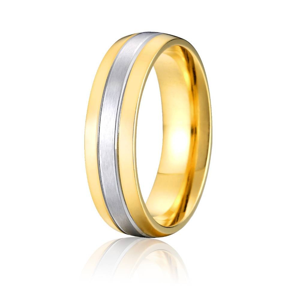 High Quality Yellow Gold Color Bicolor Pure Titanium Wedding Band For Most Up To Date Titanium Anniversary Rings (View 6 of 25)