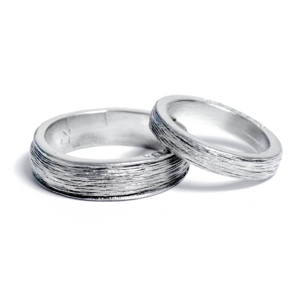 Him And Hers 100% Pure Tin Rings Inscribed With 'ten Pertaining To Most Current Silver Wedding Anniversary Rings (View 14 of 25)