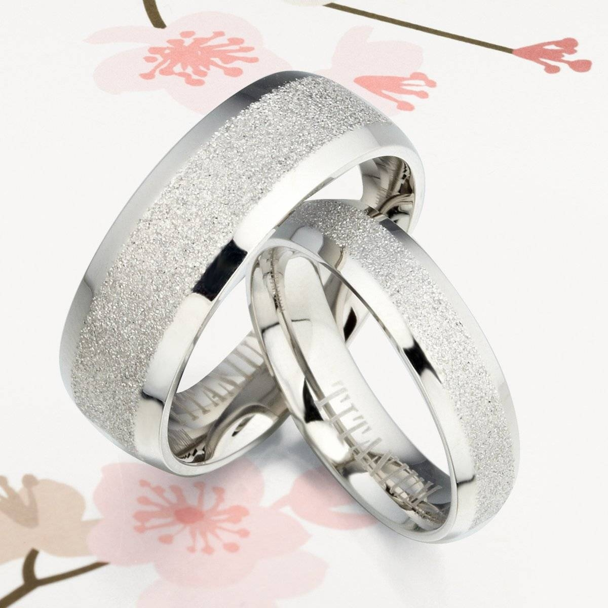 His And Her Beveled Edge Silver Dazzling Titanium Wedding Within 2018 His And Her Anniversary Rings (Gallery 17 of 25)