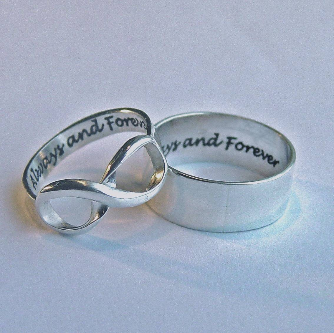 His And Hers Jewelry Infinity Ring Set Always & Forever In Current Engraved Anniversary Rings (View 13 of 25)