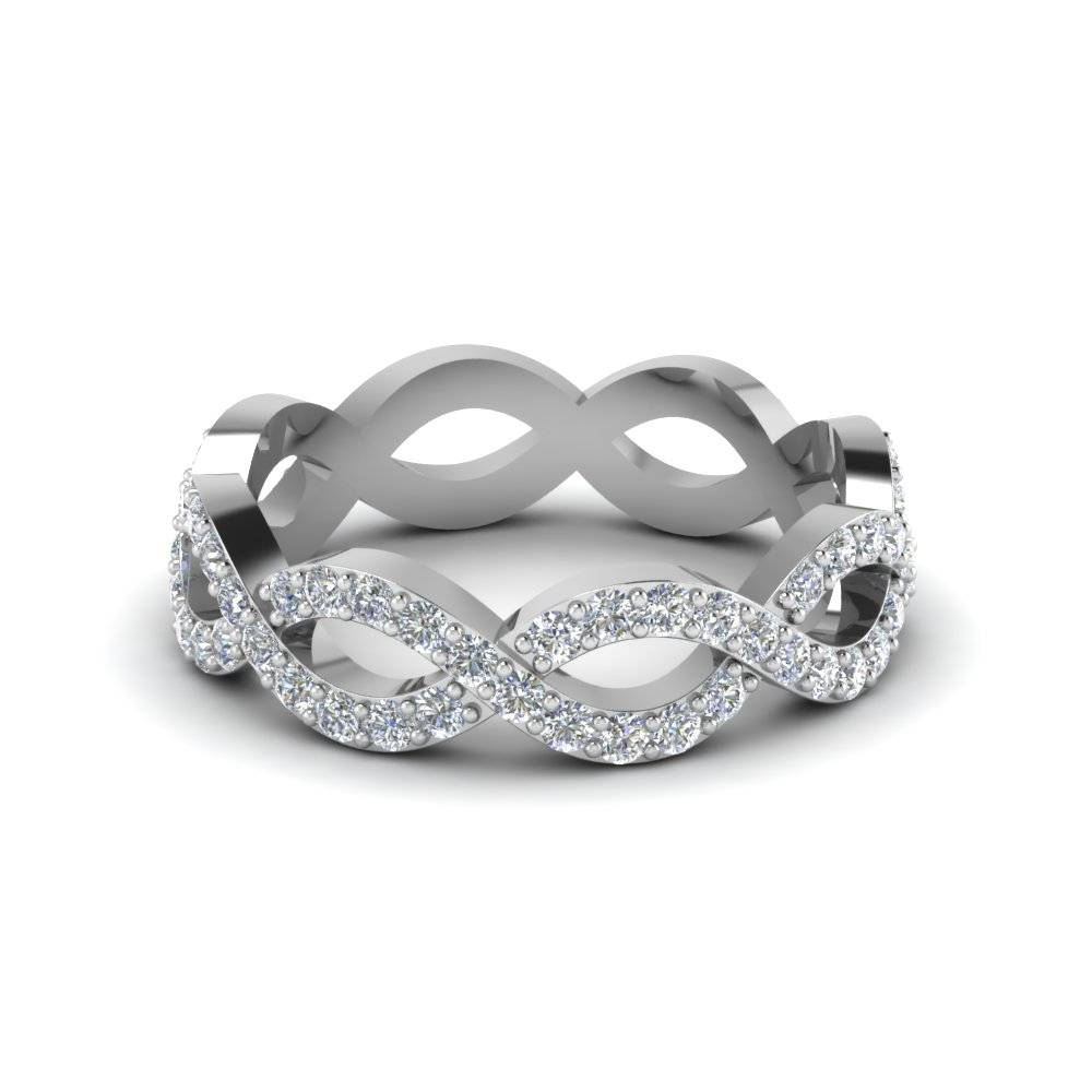 Infinity Diamond Eternity Wedding Anniversary Band For Women In Pertaining To Newest White Gold Anniversary Rings (View 13 of 25)