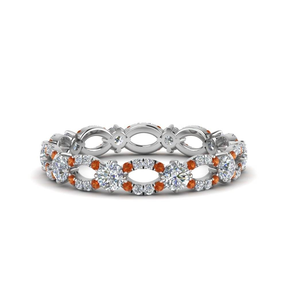 Infinity Eternity Diamond Anniversary Engagement Ring With Orange With Regard To Current Sapphire Anniversary Rings (View 11 of 25)