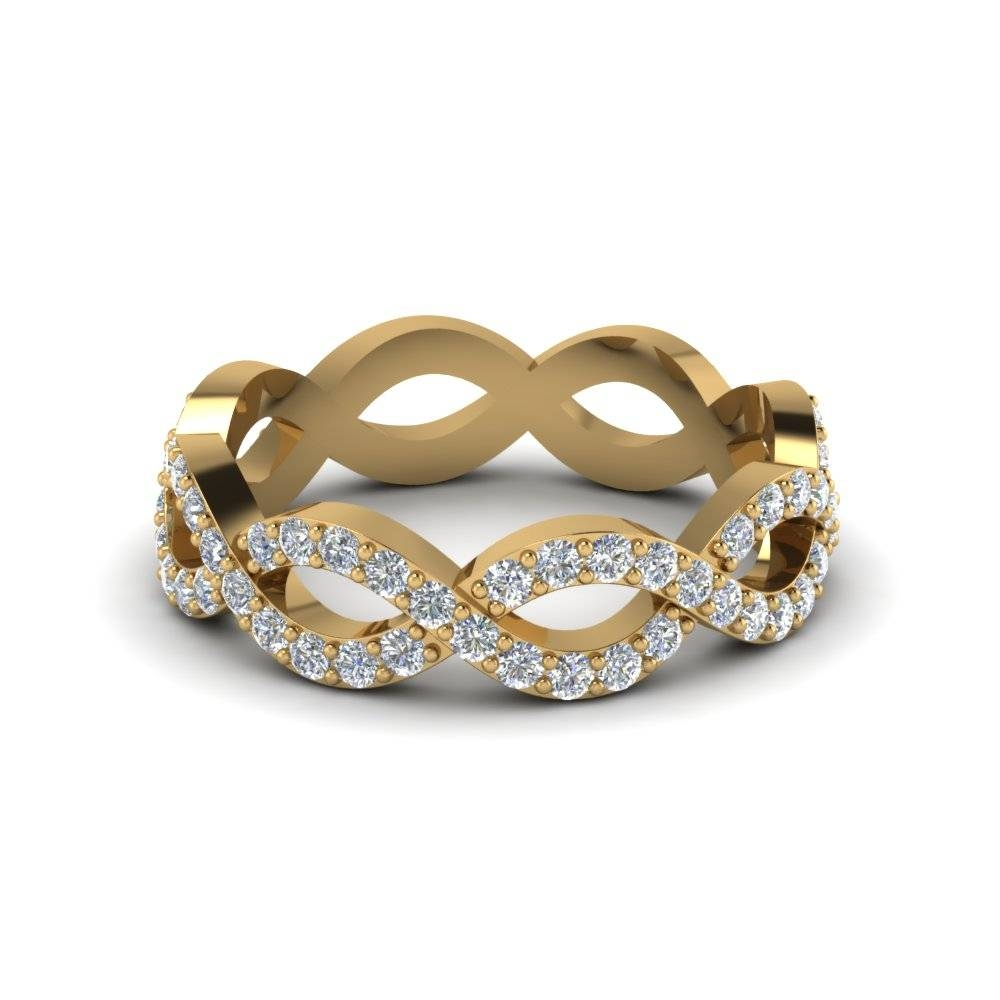 Infinity Twist Diamond Eternity Anniversary Ring Gifts In 14K Inside Most Recent Yellow Gold Anniversary Rings (View 13 of 25)