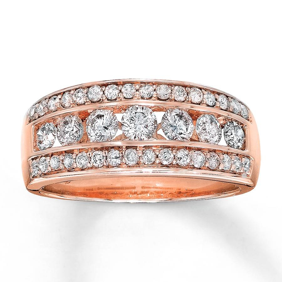 Jared – Diamond Anniversary Band 1 Ct Tw Round Cut 14k Rose Gold Throughout Current Rose Gold Anniversary Rings (View 7 of 25)
