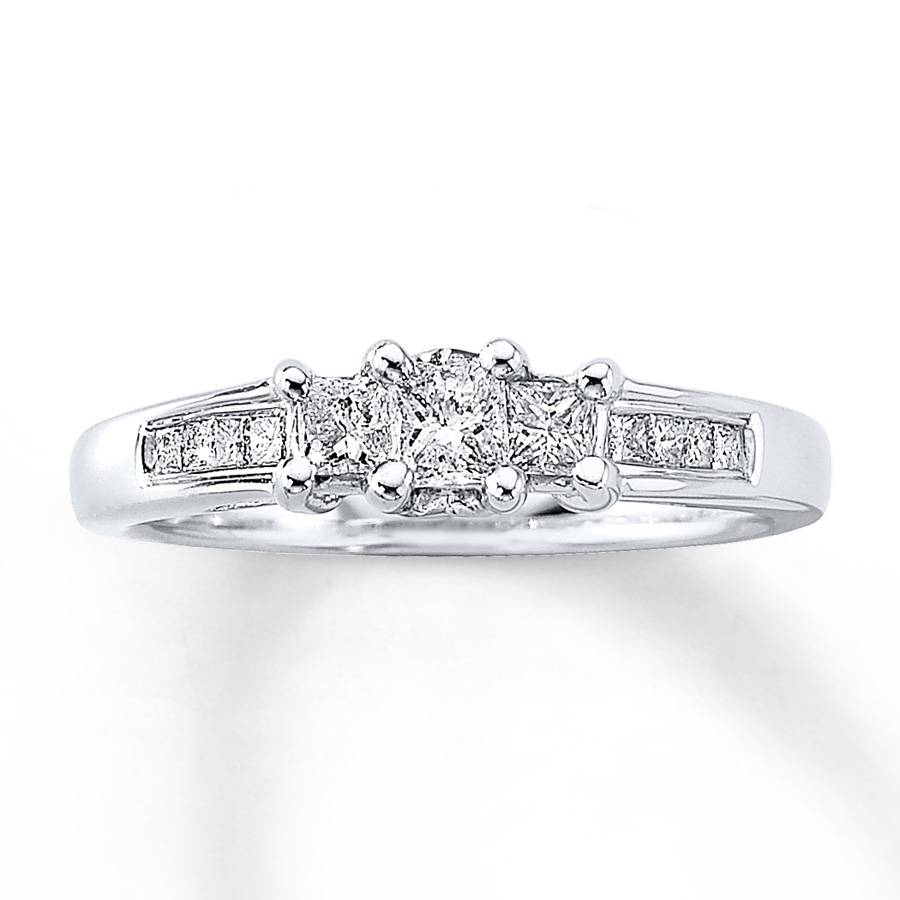 Jared – Diamond Anniversary Ring 1/2 Ct Tw Princess Cut 14K White Gold Regarding Most Recent Gold Diamond Anniversary Rings (View 16 of 25)