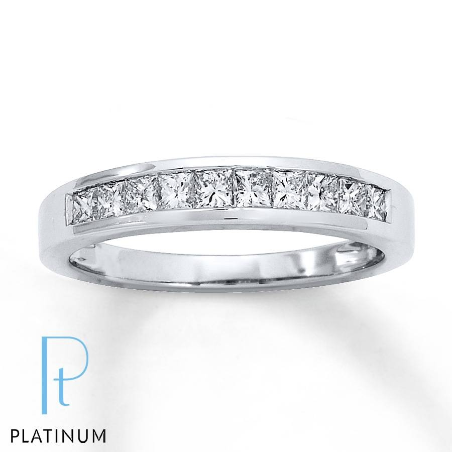 Jared – Diamond Anniversary Ring 1/2 Ct Tw Princess Cut Platinum Regarding Most Recently Released 1 Ct Diamond Anniversary Rings (View 4 of 15)