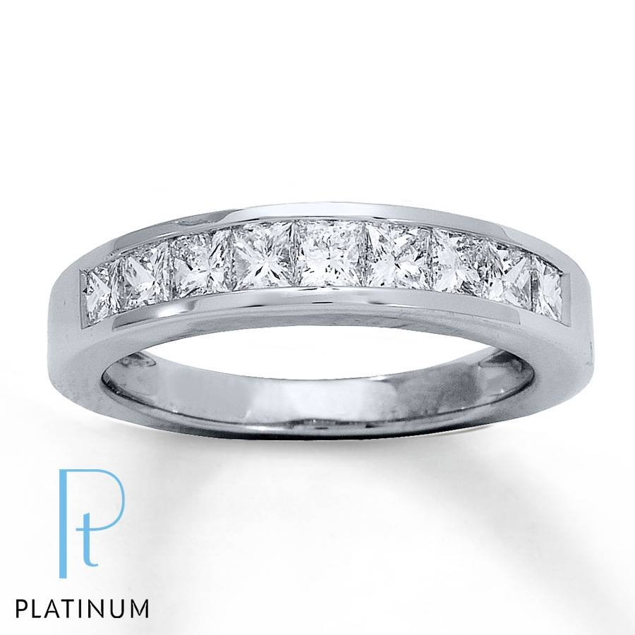 Jared – Diamond Anniversary Ring 1 Ct Tw Princess Cut Platinum Throughout Current Platinum Anniversary Rings (Gallery 1 of 25)