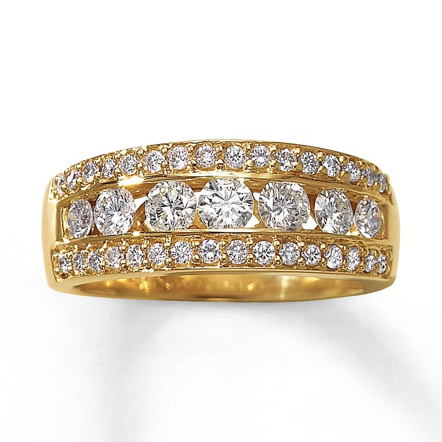 Jared – Diamond Anniversary Ring 1 Ct Tw Round Cut 14K Yellow Gold Intended For Newest Gold Anniversary Rings (Gallery 2 of 25)