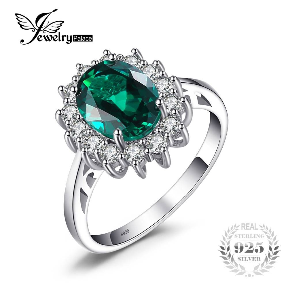 Jewelrypalace Princess Diana 2.74 Ct Oval Created Emerald Throughout Most Current Emerald Anniversary Rings (Gallery 22 of 25)