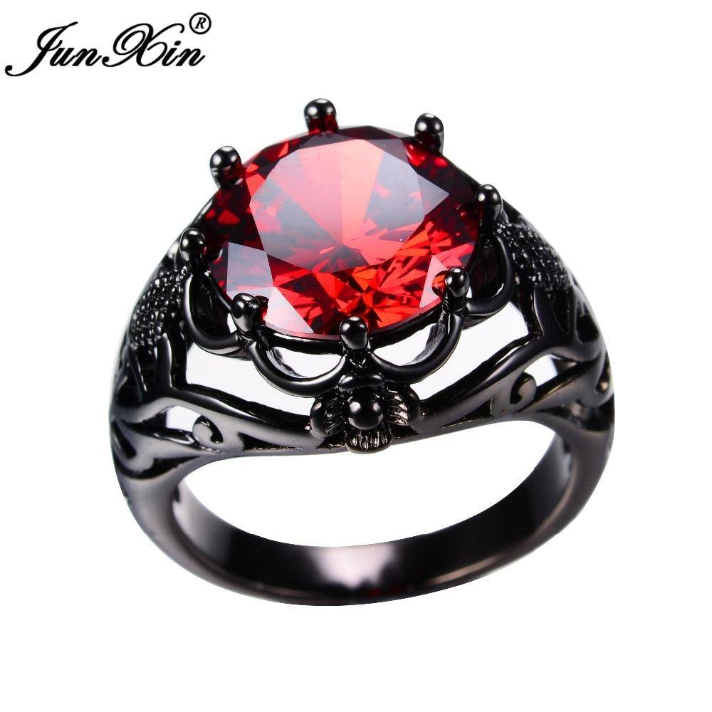 Junxin European Style Men Women Big Ruby Red Ring Black Gold Regarding Latest Ruby Anniversary Rings (View 11 of 25)