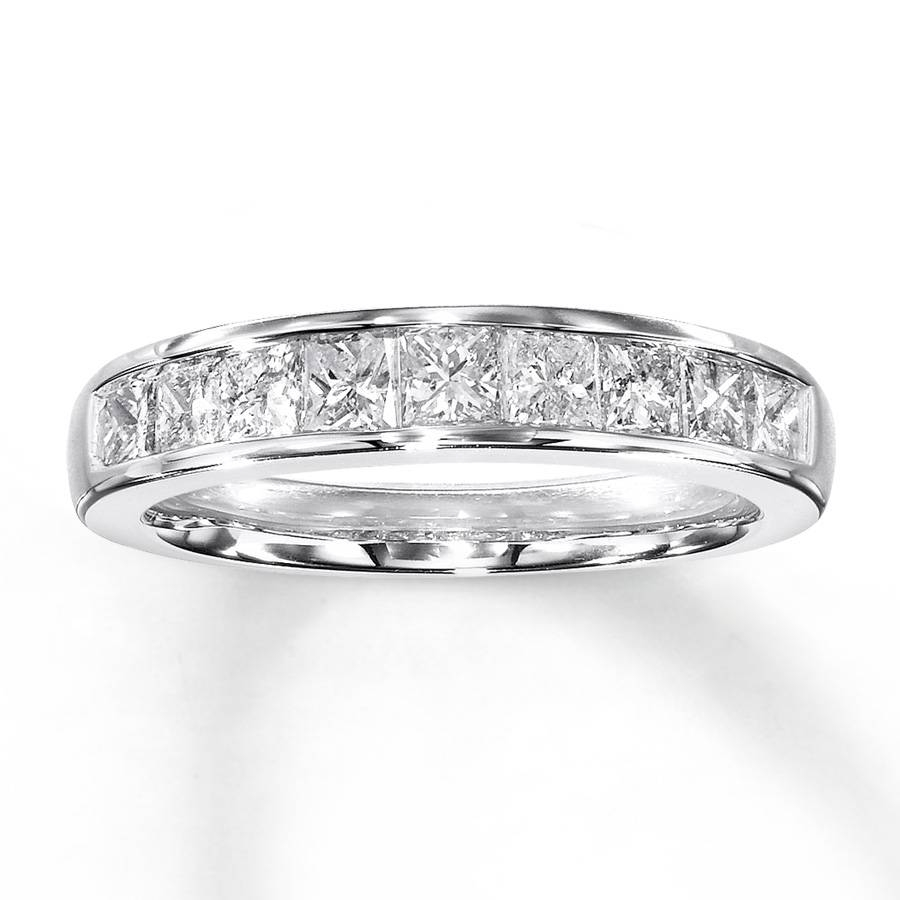 Kay – Diamond Anniversary Band 1 Ct Tw Princess Cut 14K White Gold Intended For Newest 1 Carat Diamond Anniversary Rings (View 11 of 15)