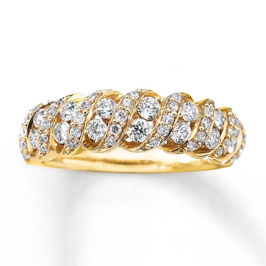 Kay – Diamond Anniversary Band 3/4 Ct Tw Round Cut 14K Yellow Gold Pertaining To 2017 3 Diamond Anniversary Rings (View 9 of 25)