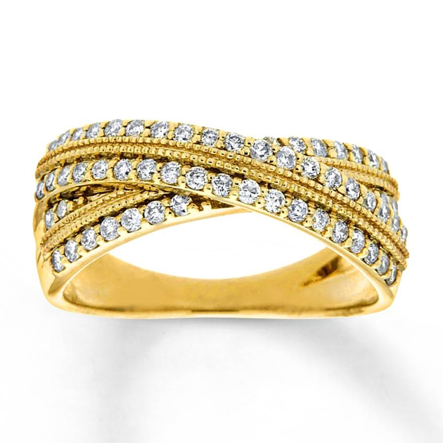 Kay – Diamond Anniversary Ring 1/2 Ct Tw Round Cut 10K Yellow Gold In Newest Gold Anniversary Rings (View 19 of 25)