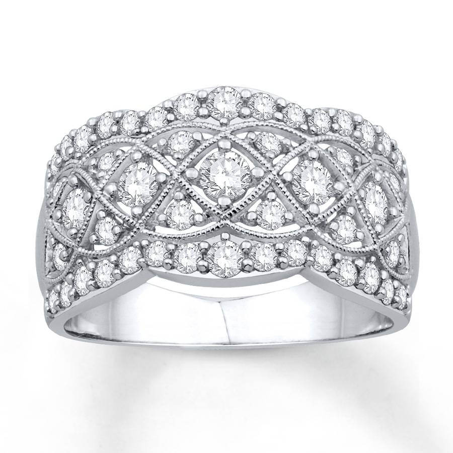 Kay – Diamond Anniversary Ring 1 Ct Tw Round Cut 14K White Gold Pertaining To Latest 14K Gold Anniversary Rings (Gallery 14 of 15)