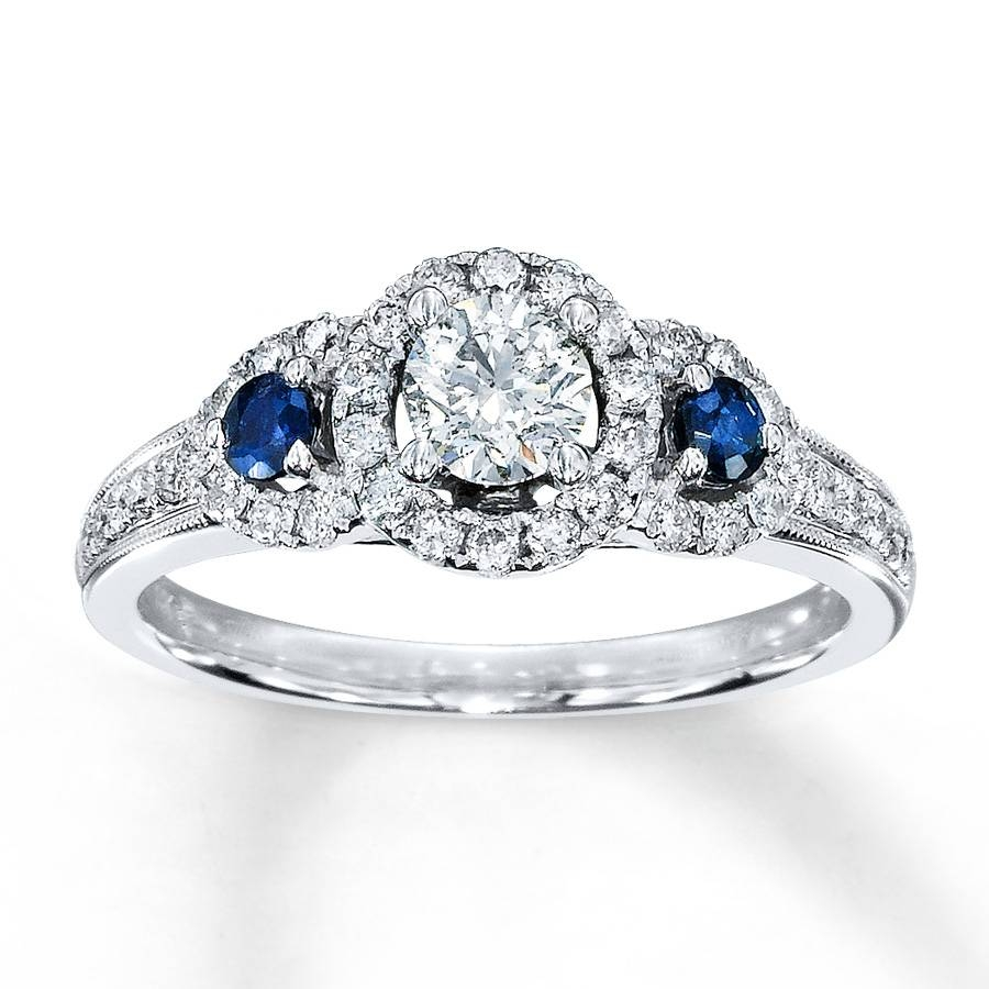 Kay – Diamond/sapphire Ring 3/4 Ct Tw Round Cut 14k White Gold Within Most Popular Kay Jewelers Anniversary Rings (View 11 of 25)